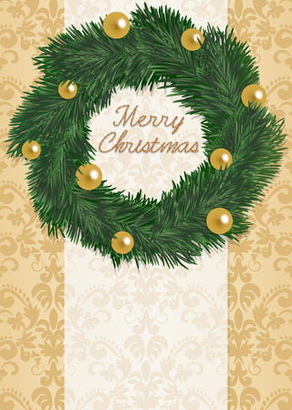 Green wreath of Christmas of the vintage pattern background Vector