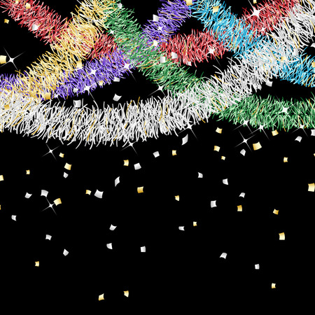 Colorful tinsel garland decoration and confetti Vector