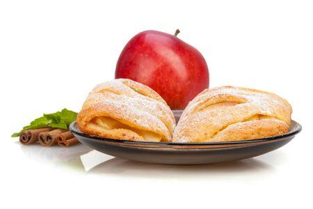 Apple and Cinnamon and mint buns on dish. Banco de Imagens
