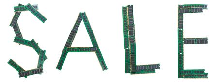 word SALE typed from old RAM memory modules of personal computers. Imagens