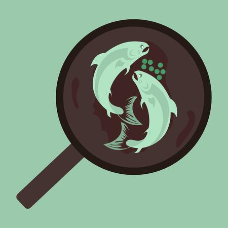 Fish on pan illustration
