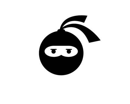 Ninja warrior icon. Simple black ninja head logo illustration design