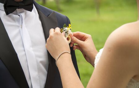 bride and groom are already wear his, her dress and standing on a park. Bride is fixing the brooch which is on grooms suit. Archivio Fotografico