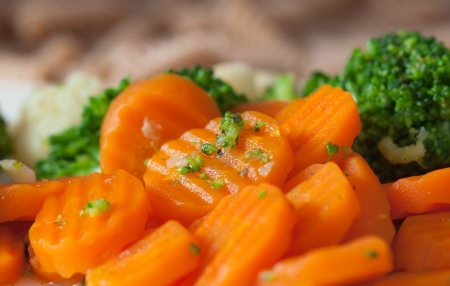Carrot and broccoli on a dish Stock Photo - 17069067