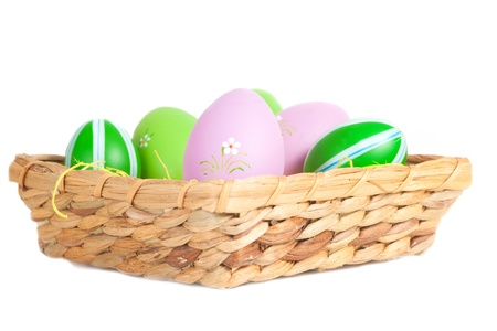 egs: Easter Dekoration with colorful egs in a basket  Picture is toned