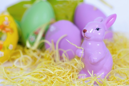 deep focus: A easter decoration in green yellow and purple  Short deep focus