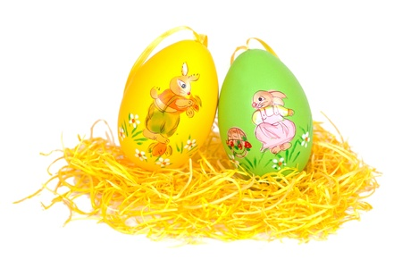 deep focus: A easter decoration in green yellow and purple. Short deep focus.