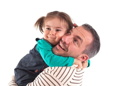 A father hold his doughter in his arms   cheek on cheek photo