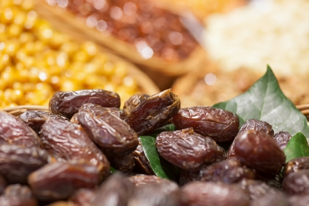 A mount of chinese date on a market shop. picture with short focus Stock Photo