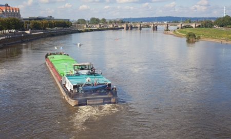 A freighter shipping on the Elbe . A Lake in Dresden which goes through the town.  Editorial