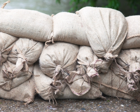 Sandbags on floodwater to stop the water who comes in