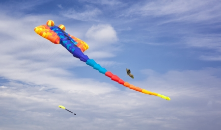Big kite on sky in different bright colors. photo