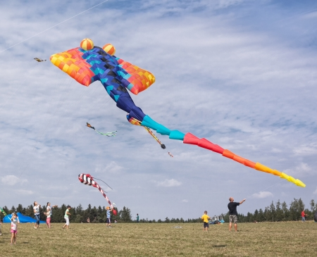 Big kite on sky in different bright colors.