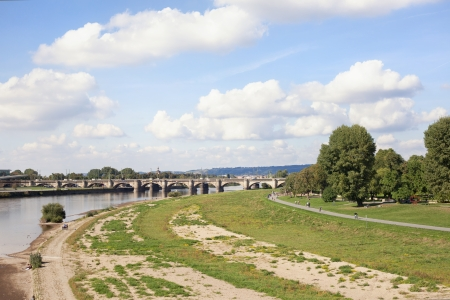 A look at the riverside of lake Elbe in dresden