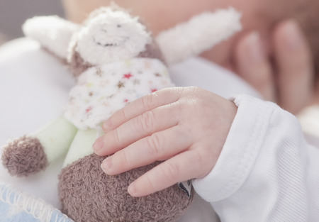 cuddly toy: A new-born baby is holding a cuddly toy in his little hands.