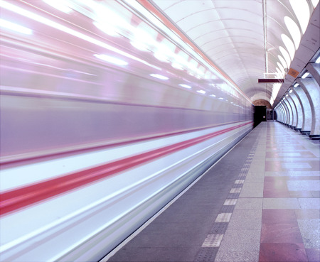 A motion picture of the subway in prague. Bright colors. photo