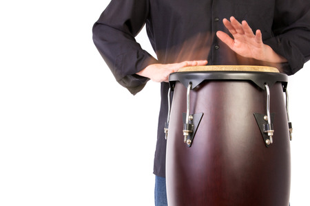 bongo: Motion Picture of a bongo Player isolated on white. Detail shot Stock Photo