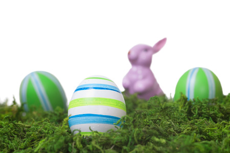 Easter Decoration with colorful eggs and a rabbit  in a moss Isolated on White photo