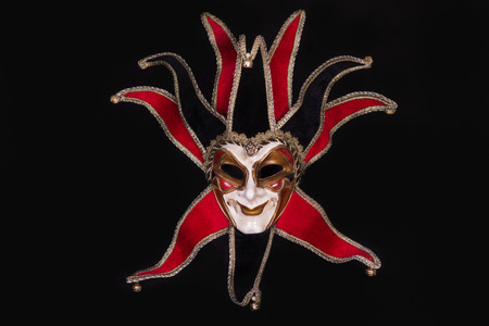 enigma: Detail shot of a carnival Mask isolated on Black. Stock Photo
