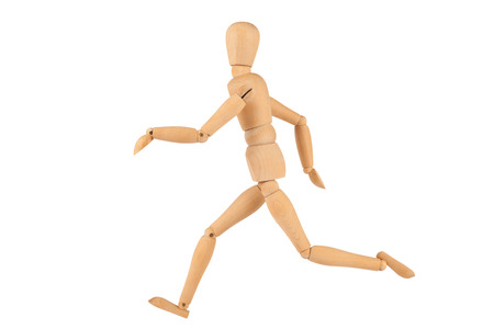 One Running Manikin Figure isolated on White photo