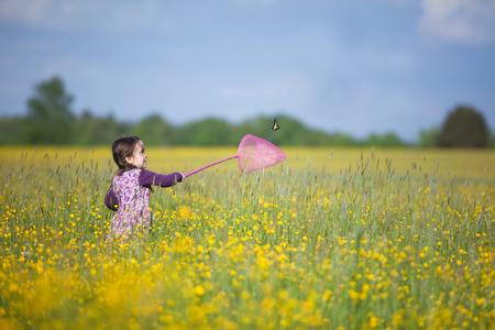 mariposa: Chica joven feliz que persigue la mariposa con Pink neta en campo Vast Lleno Wildflowers amarillos