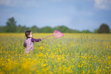 butterfly net: Happy Young Girl Chasing Butterfly with Pink Net in Vast Field Filled with Yellow Wildflowers