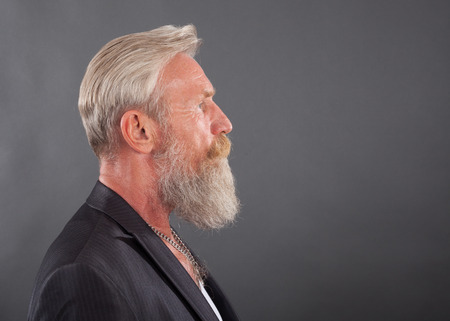 white beard: Portrait of a beard man with a long white beard.