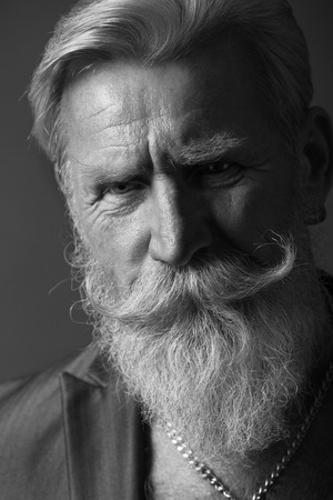 old people: Black and White Portrait of a beard man with a long white beard. Stock Photo