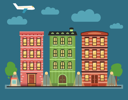 townhouses: Lovely colorful city downtown landscape with various townhouses, clouds, birds, plane and other urban details.