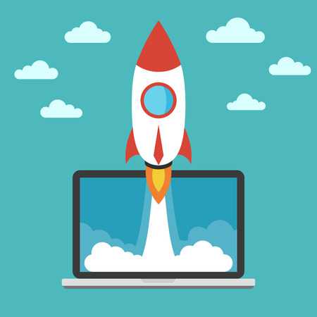 disruptive: Start up business concept for mobile app development or other disruptive digital business ideas. Business and success concept. The Flat illustration with spaceship and laptop. Illustration