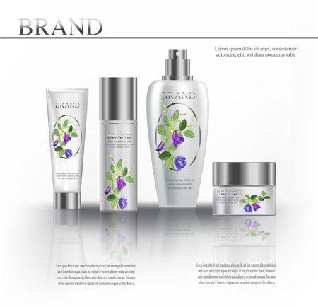 Cosmetic products white color witn butterfly pea Stock Illustratie
