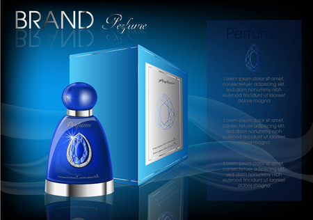 Cosmetic products blue bottle with diamond logo for perfume Standard-Bild - 99773391