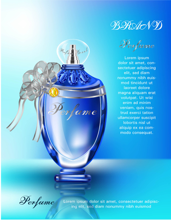 Cosmetic  products blue bottle with diamond logo for perfume Standard-Bild - 99773398