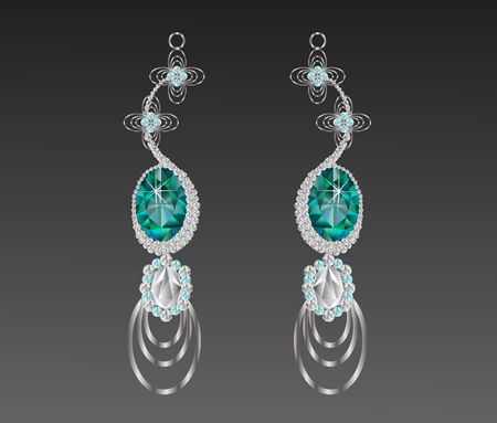 earrings turquoise diamond vector illustration.