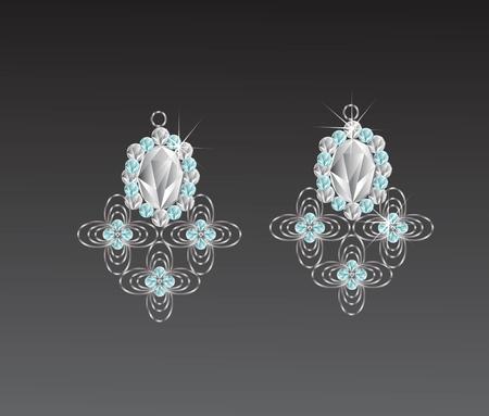 Earrings diamond flower shape illustration.