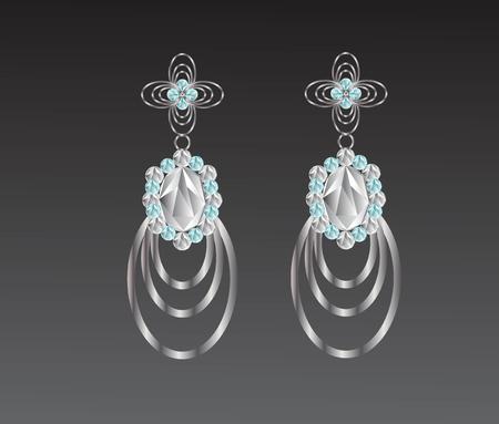 Earrings diamond flower shape vector illustration.