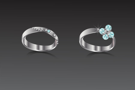 Rings bronze with white and turquoise diamond illustration.