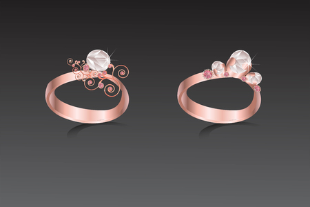 Rings copper with pink and white diamond illustration.