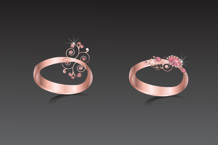 Rings copper with pink diamond and abstract shape illustration. Illustration