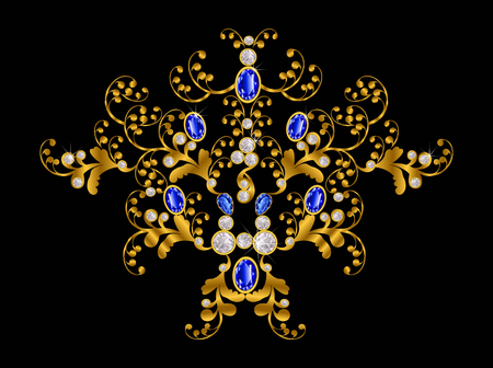 Accessories  gold with white and blue diamond