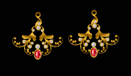 Pendant gold with white and red diamond.