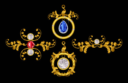 Pendant gold with diamond,white,red,blue color Çizim