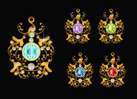 Pendant gold with diamond Çizim