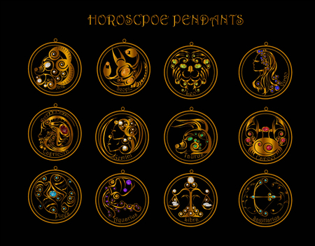 12 Horoscopes and diamond of Zodiac