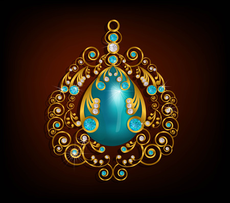 Pendant gold with turquoise stone ,blue and white diamond