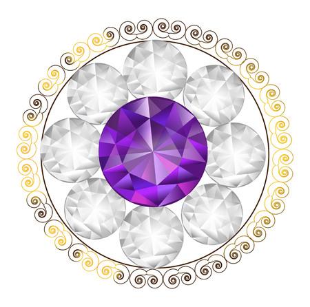Diamond flower shape vector illustration Ilustração