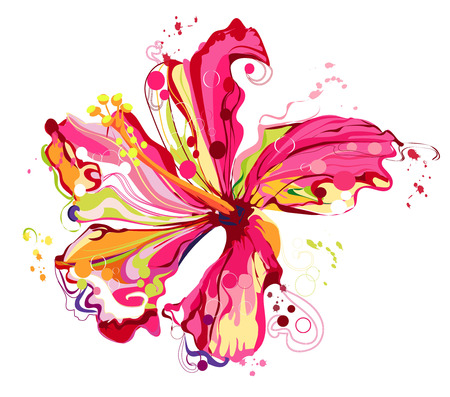 Graphic floral create from hibiscus flower .colorful in abstract style Ilustração