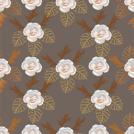 Flower seamless ,rose on brown background,vector illustration