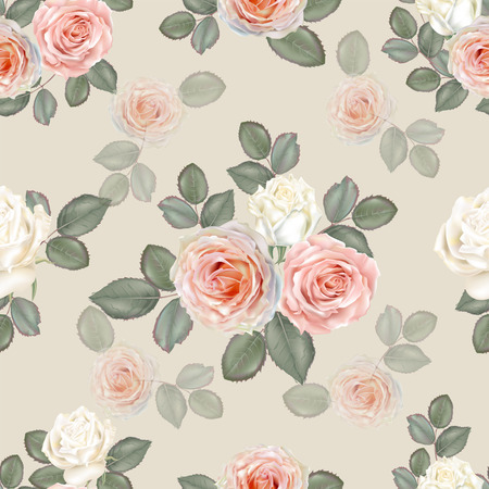 Seamless floral background pattern. Rose flowers white and pink color on beige background , vector illustration