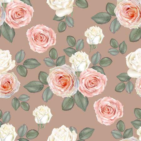 Seamless floral background pattern. Rose flowers white and pink color with leavs on brown background , vector illustration
